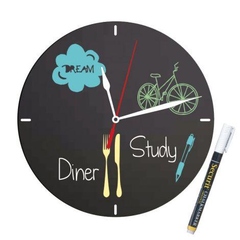 Wall Chalkboard Clock & Marker