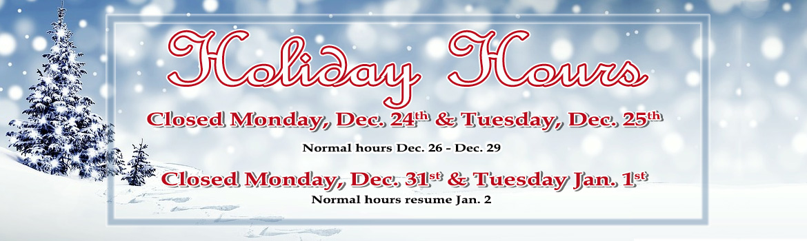 Christmas and New Years hours 2018